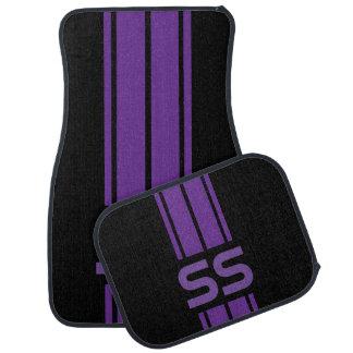Purple Double Race Stripes   Personalise Car Mat