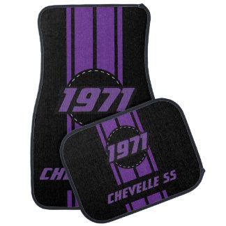 Purple Double Race Stripes   Personalise Floor Mat