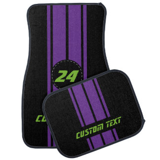 Purple Double Race Stripes | Personalize Car Mat