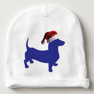 Purple-Doxie---And-Santa-Hat Baby Beanie