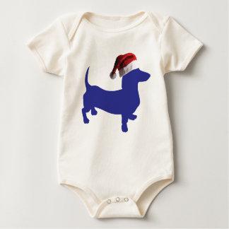 Purple-Doxie---And-Santa-Hat Baby Bodysuit