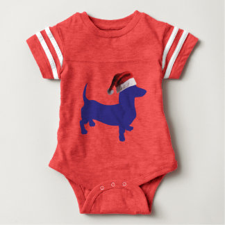 Purple-Doxie---And-Santa-Hat Baby Bodysuit