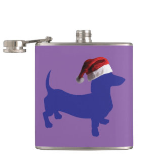 Purple-Doxie---And-Santa-Hat Hip Flask