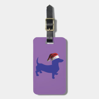 Purple-Doxie---And-Santa-Hat Luggage Tag
