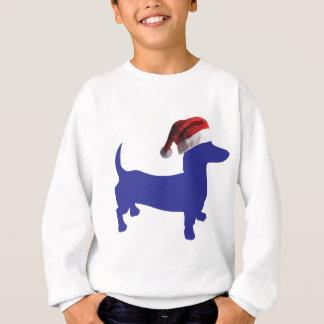 Purple-Doxie---And-Santa-Hat Sweatshirt