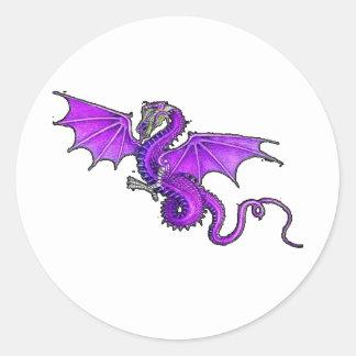 Purple Dragon Round Sticker