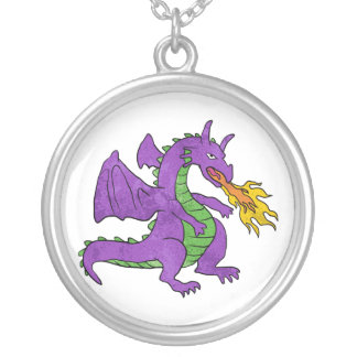 purple dragon throwing flames silver plated necklace