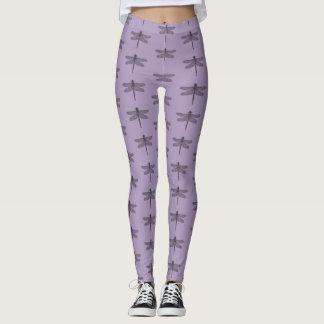 Purple dragonfly leggings