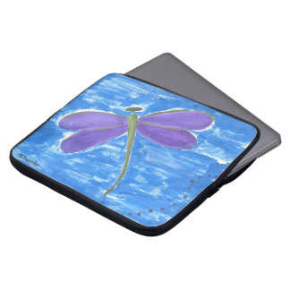 Purple Dragonfly on Blue Computer Sleeve