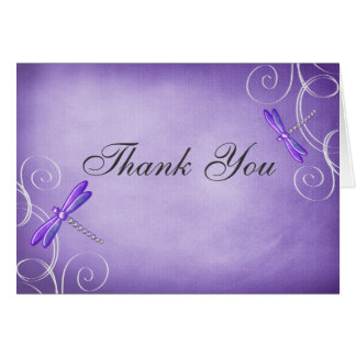 Purple Dragonfly Swirls Thank You Card