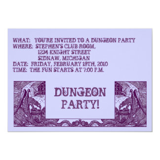 "PURPLE DRAGONS IN THE DUNGEONS ~ PARTY INVITATION 5"" X 7"" INVITATION CARD"
