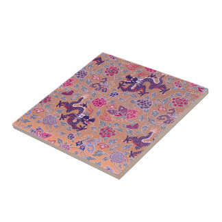 Purple Dragons Pink and Purple Flowers Pattern Tiles