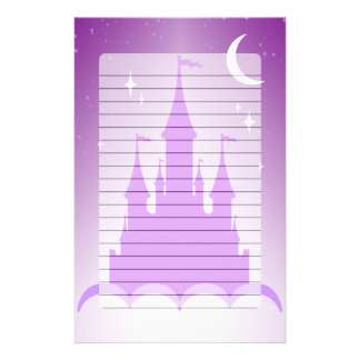 Purple Dreamy Castle In The Clouds Starry Moon Sky Personalized Stationery