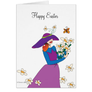 Purple Dress Easter Girl Card