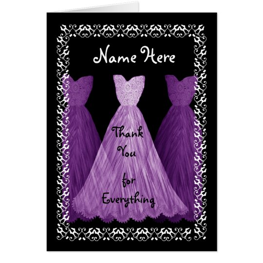 PURPLE Dresses BRIDESMAID Wedding Thank You Card