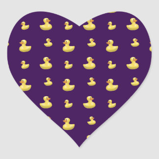 Purple duck pattern heart sticker