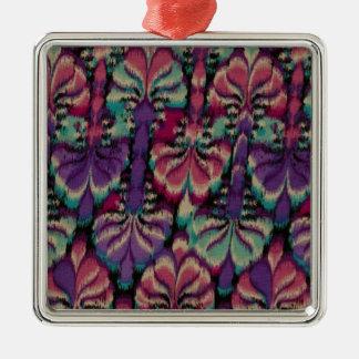 Purple, Dusty Rose & Green Silver-Colored Square Decoration