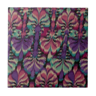 Purple, Dusty Rose & Green Small Square Tile