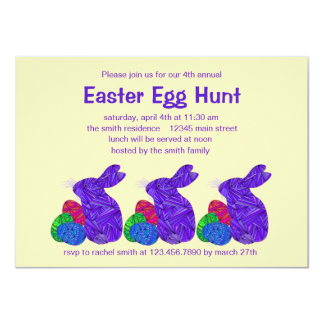 """Purple Easter Bunny Easter Egg Hunt Party 4.5"""" X 6.25"""" Invitation Card"""