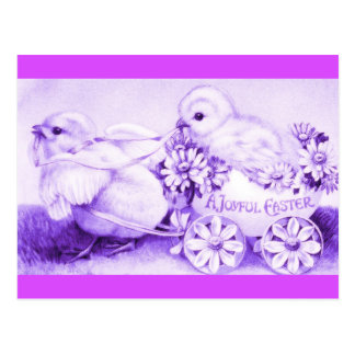 Purple Easter Chicks with Floral Easter Egg Coach Postcard