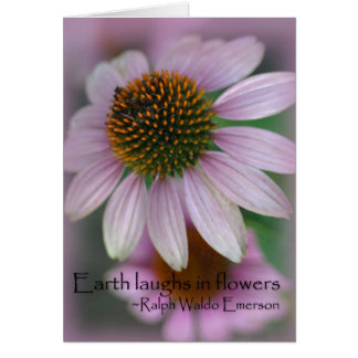 Purple echinacea Emerson Flower Quote Card