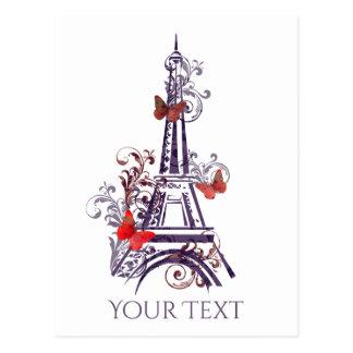 Purple Eiffel Tower Butterflies PostCard