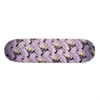 Purple Eiffel Tower Post Card Stamps 19.7 Cm Skateboard Deck