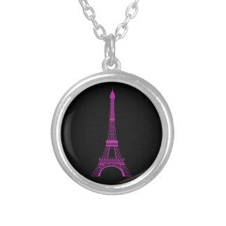 Purple Eiffel Tower Round Pendant Necklace
