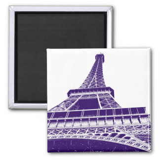 Purple Eiffel Tower Square Magnet
