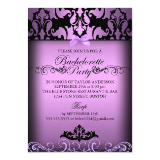 Purple Elegant Damask Bachelorette Party Invite