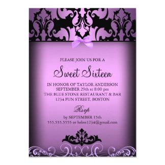 Purple Elegant Damask Sweet Sixteen Party Invite