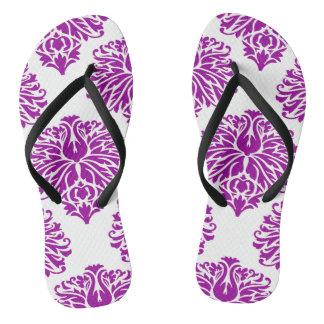 Purple Elegant Damask Thongs