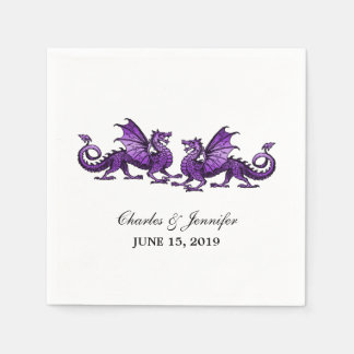Purple Elegant Dragons Wedding Paper Napkins