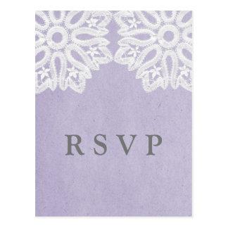 Purple Elegant Lace RSVP Postcard
