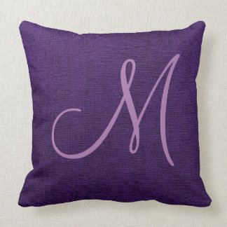 Purple Elegant Monogram Canvas Look Throw Pillow