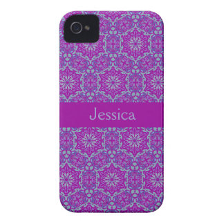 Purple Elegant Pattern Blackberry Bold name case iPhone 4 Covers