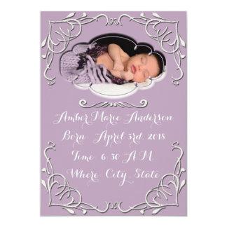 Purple Elegant Scroll Baby Birth Announcement