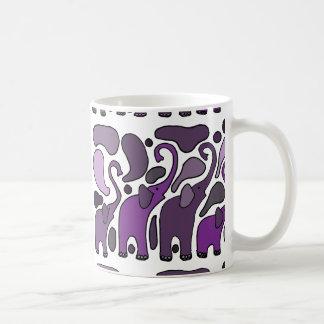 Purple Elephant Art Abstract Basic White Mug