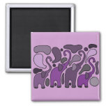 Purple Elephant Art Abstract Square Magnet