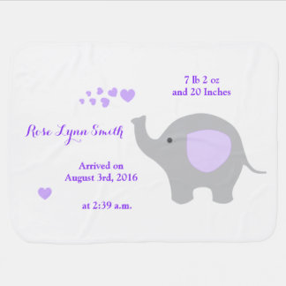 Purple Elephant Baby Birth Stats Announcement Girl Baby Blanket