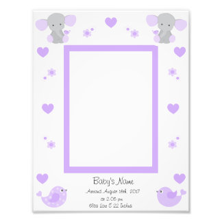 Purple Elephant Baby Stats Girl Photo Wall Art