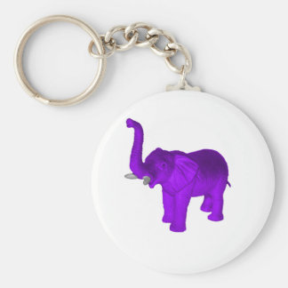 Purple Elephant Basic Round Button Key Ring