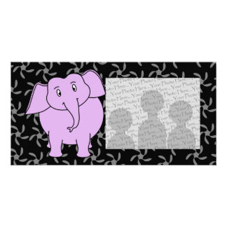 Purple Elephant Cartoon. Blue Floral Background. Photo Card Template