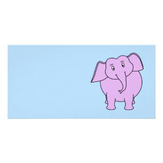 Purple Elephant Cartoon Photo Cards