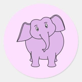 Purple Elephant. Cartoon Round Sticker