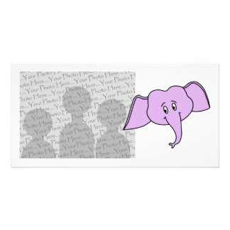 Purple Elephant Face. Cartoon. Personalised Photo Card