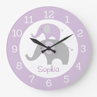 Purple Elephant Personalized Wall Clock