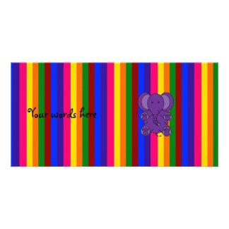 Purple elephant rainbow stripes photo card template