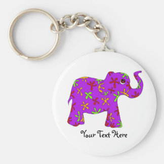 Purple Elephant with colorful flowers Key Chain