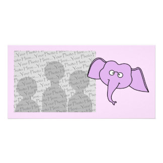 Purple Elephant with Glasses. Photo Greeting Card
